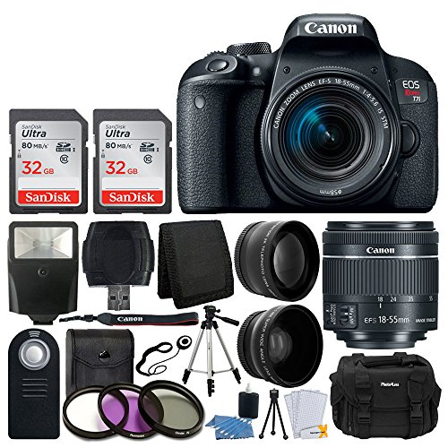 Canon EOS Rebel T7i Digital SLR Camera with EF-S 18-55mm f 4-5.6 IS STM Lens + 58mm Wide Angle Lens + 2x Telephoto Lens + Flash + 64GB SDHC Memory Card + UV Filter Kit + Tripod - Full Accessory Bundle