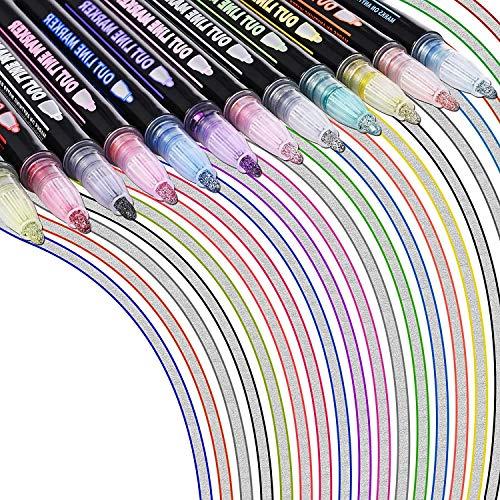 GOLDGE Outline Stifte 12 Leuchtende Farben Glitzer Stift Wasserfester Stift mit Geschenkkarten für Weihnachtskarten Gästebuch Grußkarten