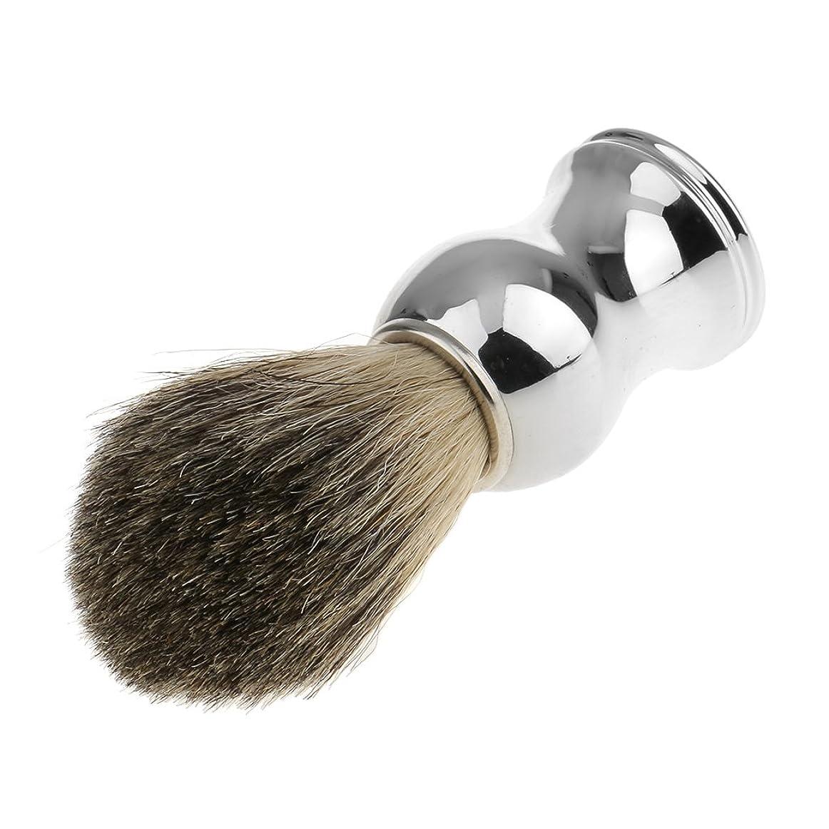 いらいらさせる宿命賃金SONONIA 人工毛 シェービングブラシ 家庭 柔らかい 洗顔 理容  髭剃り 乾くやすい 便携 11.2cm 全2色 - シルバーハンドル
