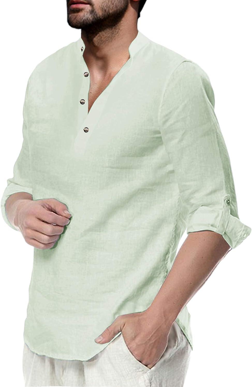Makkrom Men's Indianapolis Mall Long Sleeve Henley Summer Shirt Cotton Beach Linen Jacksonville Mall