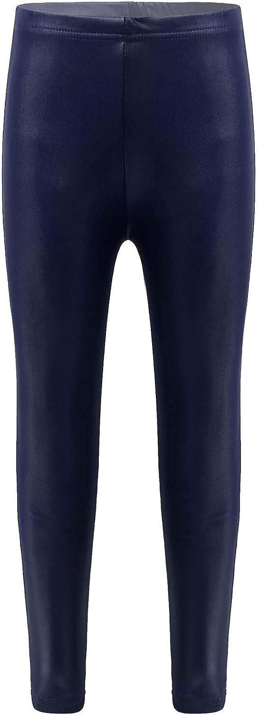 Huimingda Kids Girls Spring Autumn Warm Leggings Stretch Faux Leather Fleece Pants Gym Yoga Sport Trousers