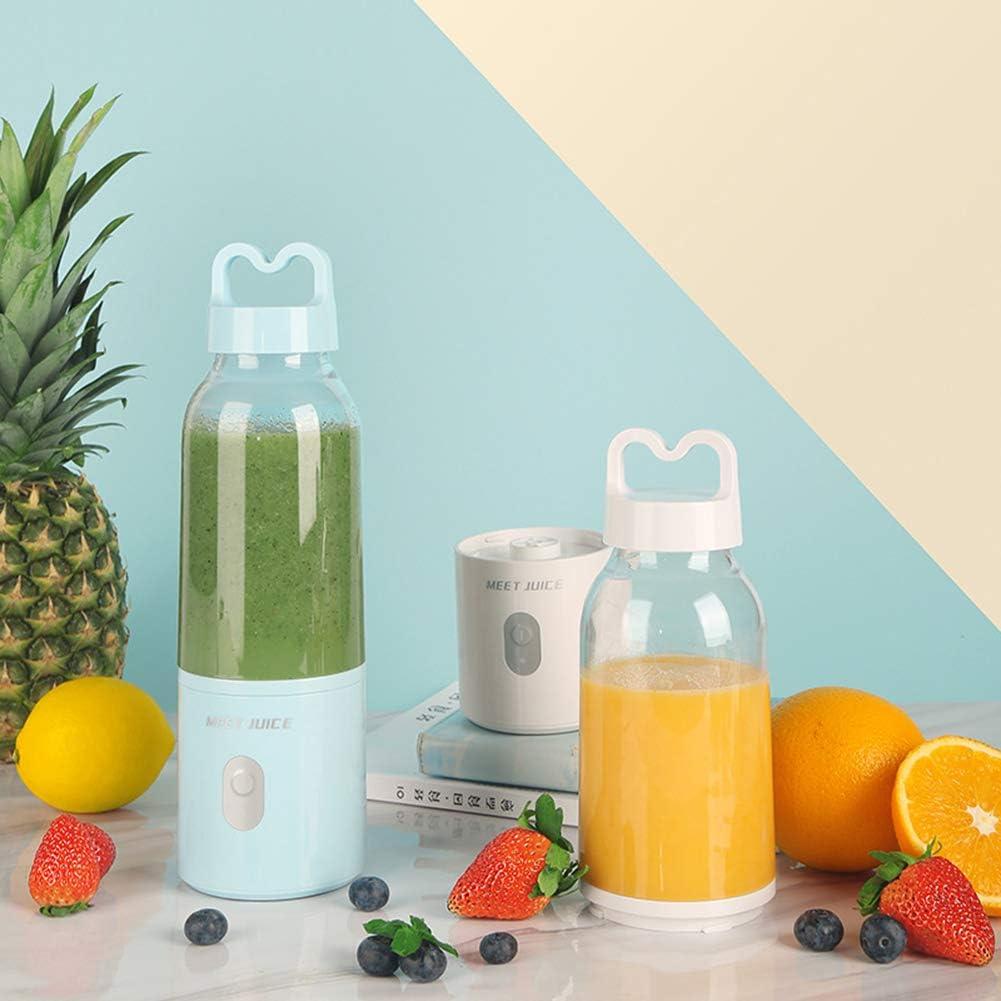 Blender Milkshake,Mélangeur Personnel LMM 400 Ml,Mélangeur De Fruits Avec Six Lames,Mélangeur Personnel Rechargeable USB Blue