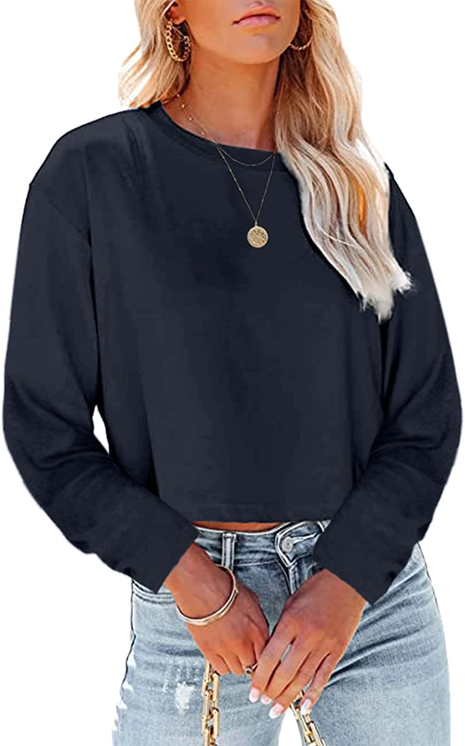 Women's Long Sleeve Casual Crewneck Striped Color Block Knitted Sweater Loose Oversized Pullover Jumper Tops