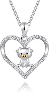 ACJFA Lovely Pig Necklace 925 Sterling Silver Cute Pig Love Heart Pendant Necklace Animal Jewelry for Women Grils