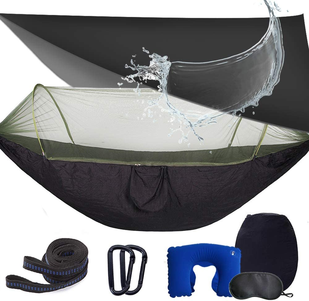 Survival Travel /& More Single /& Double Anxin Camping Hammock with Mosquito Bug Netting,Packable Hammock with Tree Straps and Carabiners,Parachute Nylon Hanging Swing Hammock for Backpacking
