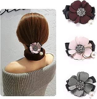 3pcs Women Girl Magic DIY Hair Bun Donut maker, Pearl Flower Twist Headband, French Bud Headwear, Ponytail Bun Twister Tie Hairstyle Tool, Sweet Hair Accessories (1 Flower+Pearl)