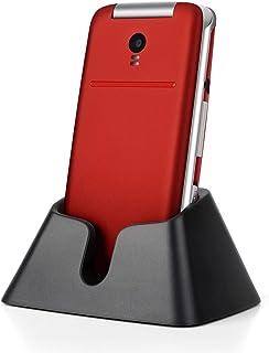 Teléfono Móvil para Personas Mayores Teclas Grandespara Mayores con MMS, SOS Botón, Cámara, 2,4 Pulgadas, con una Base de Carga, Fácil de Usar para Ancianos, Artfone Flip CF241A, Rojo