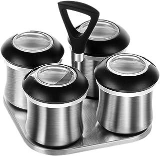 JWDS Seasoning Box Jar À Épices Magnétiques Ensemble En Acier Inoxydable Avec Support, Boîte D'Assaisonnement, Organisateu...