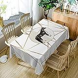 XXDD Mantel de Simplicidad Moderna Negro Blanco patrón de Costura geométrica a Prueba de Polvo Mantel Lavable Cubierta de Mesa de Comedor A7 140x140cm