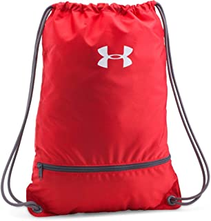 UA Team Training Gym Sack Back Pack Drawstring Bag Gear Tote (Collegiate University Red With White Sport Logo)