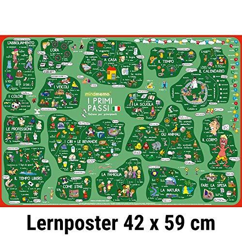 mindmemo Lernposter - I primi passi - Italienisch für Einsteiger - Vokabeln lernen mit Bildern - geniale Lernhilfe - DinA2 PremiumEdition: genial-einfache Lernhilfe - DinA2 PremiumEdition