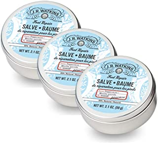 JR Watkins Foot Repair Salve, 3 Pack, Peppermint Foot Cream for Cracked Heels, Dry Skin, and Soft Happy Feet, USA Made and Cruelty Free, 2.1oz Tin