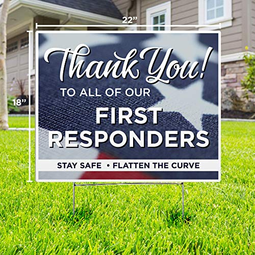 Thank You First Responders American Flag Yard Sign #2 - Social Distancing Quarantine - Stay Safe - Flatten The Curve (Pack of 1)