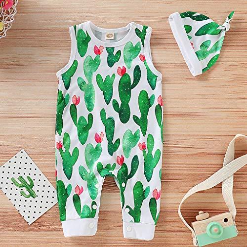 Tenday - Tutina per neonato con stampa di cactus, senza maniche, bottoni