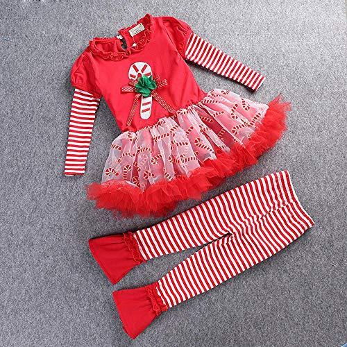 DYMAS Noël Enfants Set Baby-boomers Filles Noël mis Printemps Noël Longue Manches Cute évasés Lot de 2 Pantalons