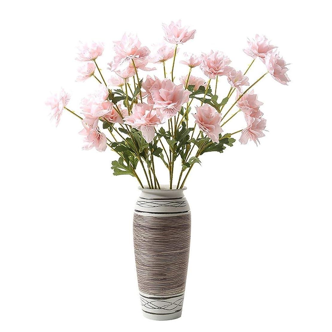 画面感性考古学的な花瓶 ヨーロッパのレトロ干し造花アレンジメント用セラミック花瓶、家庭用屋内リビングルームのテレビキャビネットポーチデスクトップ磁器の装飾装飾工芸、14.5x31x12cm