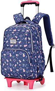 Waterproof Schoolbag Primary School Students Breathable Trolley Backpack Wear-Resistant Pulley Staircase Bag Removable