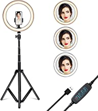 """$33 » Gugusure Ring Light, 10"""" Led Ring Light with Tripod Stand & Phone Holder for Live Stream/Make Up/YouTube, Selfie Ring Light with 3 Light Modes and 10 Brightness Level, Compatible with iPhone/Android"""
