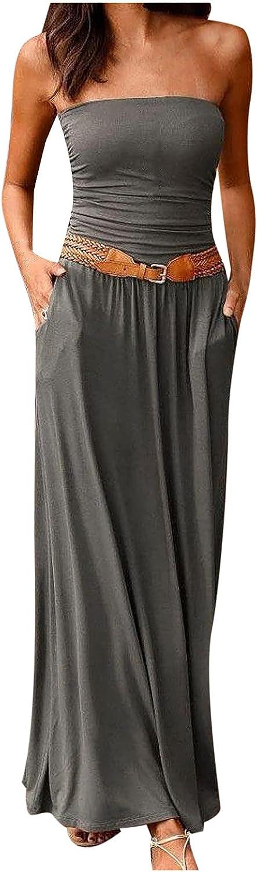 Boho Maxi Dress for Women Strapless Tube Top Loose Long Dress Casual Bohemian Style Floor-Length Comfy Dresses