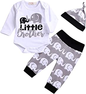 Little Brother Outfits, Infant Baby Boys Elephant Outfit Long Sleeve Onesie Romper Pants Hat Clothes Set