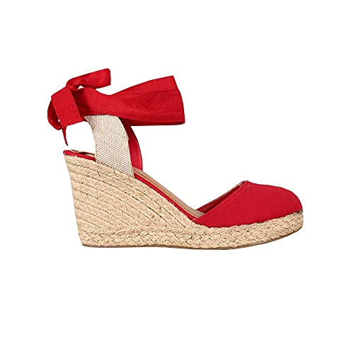 FISACE Womens Summer Wedge Sandals Closed Toe Espadrilles Heels Platform Sandal Shoes