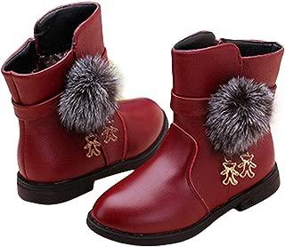 Hopscotch Girls PU Pom Pom Applique Ankle Length Boots in Burgundy Color