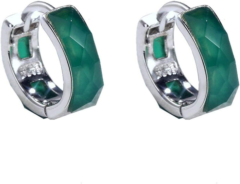 EarringsS925Silver Ear Cut Agate Max 52% OFF Earring Circle Fashionable Buckle Fashion
