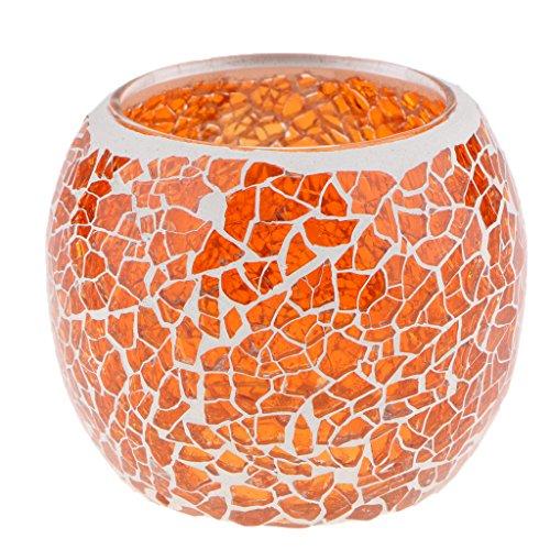MagiDeal Mosaikglas Teelichthalter Teelicht Windlicht Kerzenhalter Mosaikglas Kugel bunt Ornament - Orange