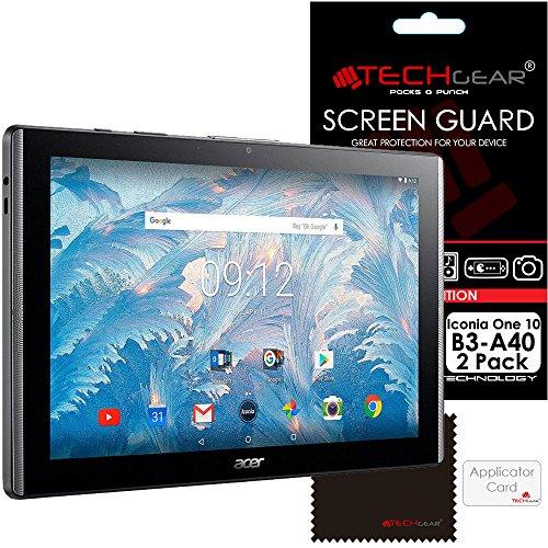 TECHGEAR [2 Pack] Protection d'Écran pour Acer Iconia One 10, Film de Protection Écran Ultra Clair avec Chiffon de Nettoyage et Carte d'Application Compatible pour Acer Iconia One 10 Modèl B3-A40