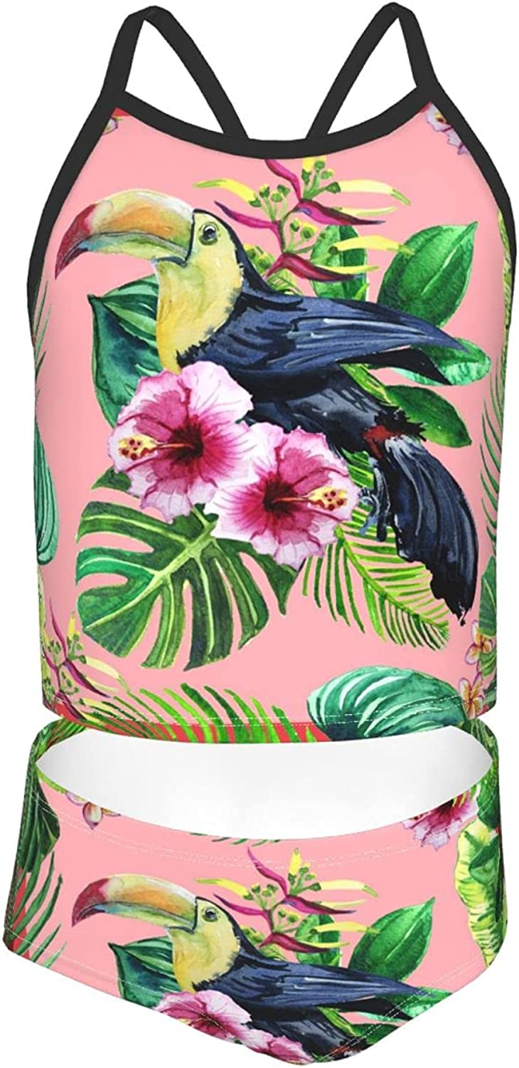 OcuteO Toucan Birds and Watercolor Tropical Flowers with Leaves Pink Green Bathing Sui