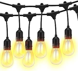 S14 Luces de cadena para exteriores, 49 pies, resistentes, de grado comercial, IP65, luces de festón con 15 bombillas LED Edison de 2 W, E27, perfectas para fiestas, ambiente de patio