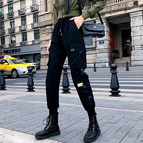 Pantalones Deportivos Monos para Mujer De Cintura Alta De Talla Grande Harajuku Pantalones Harem Coreanos Pantalones Negros Ajustados Ropa De Calle M Negro