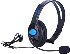 Megadream 3.5mm Unilateral Wired Online Gaming Chat Headset Headphone with Voice Control & Microphone & Adjustable Headband for Sony Playstation 4 Dualshock, PS4, PS4 Slim, PS4 Pro Controller & Laptop
