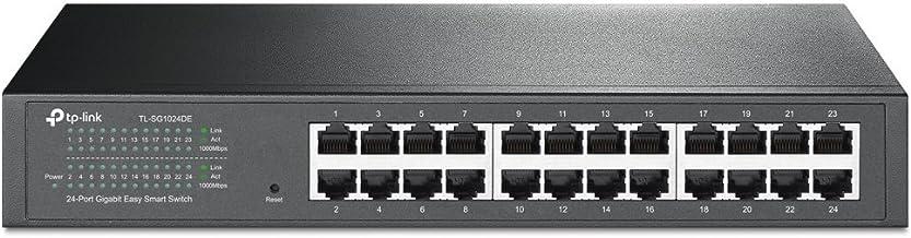 TP-Link 24-Port Gigabit Ethernet Easy Smart Managed Switch | Unmanaged Plus | Plug and Play | Desktop/Rackmount | Metal | Fanless | Limited Lifetime (TL-SG1024DE),Black