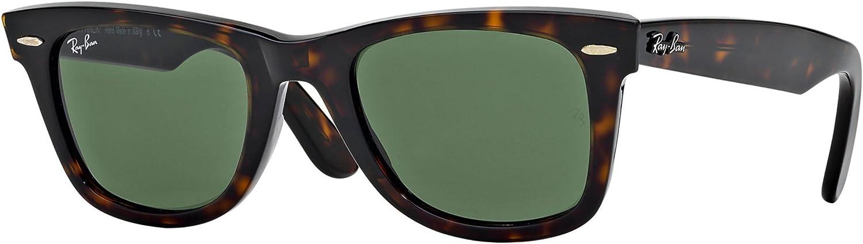 Ray-Ban Wayfarer Lunettes de soleil, Tortoise/Crystal Green, 50 mm Mixte-Homme Ecailles