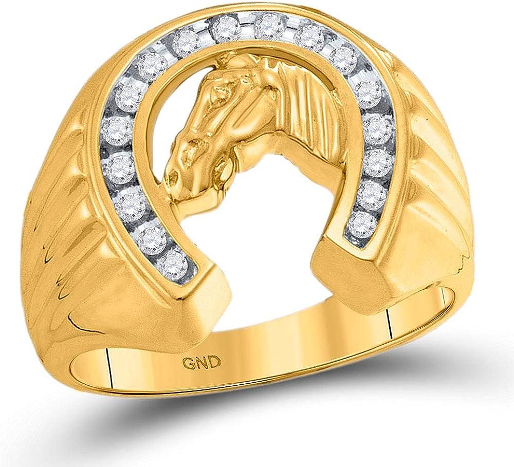 Solid 10k Yellow Gold Men's Baltimore Mall W Engagement Diamond Horseshoe 2021 Round