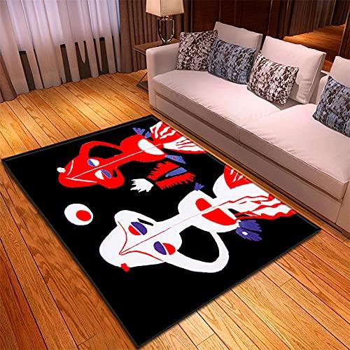 Alfombra Salon -130x190cm Negro Rojo Blanco, Alfombra Modernas Grandes Pelo Corto, Alfombras Cocina Antideslizante Lavables, alfombras baño, Alfombra Infantiles habitacion, Dormitorio alfombras