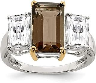 925 Sterling Silver 14k Smoky Quartz White Topaz Band Ring Stone Gemstone Fine Jewelry For Women Gift Set