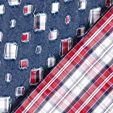 Fabulous Fabrics Jeansstoff Karomuster – blau —