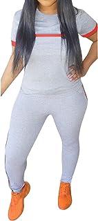 طقم ملابس رياضية للنساء، قطعتين ملابس رياضية مثيرة للنساء بأكمام قصيرة + طقم بدلة رياضية مخطط ملون