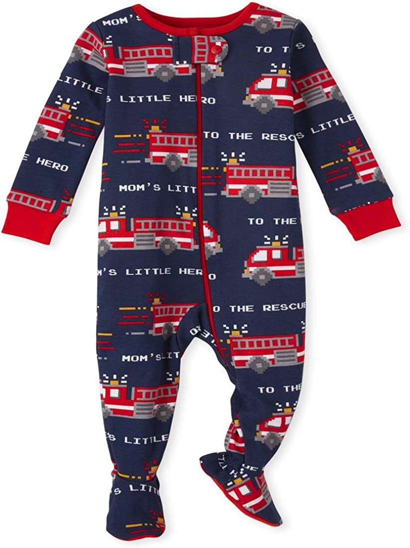 The Children's Place Baby And Toddler Boys Fire Truck Snug Fit Cotton One Piece Pajamas
