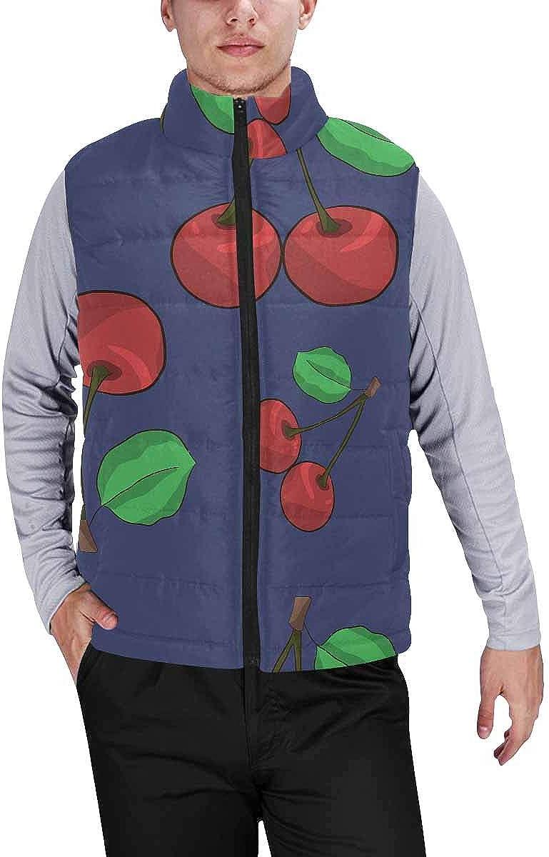 InterestPrint Men's Outdoor Casual Stand Collar Sleeveless Jacket Pattern of Pineapple