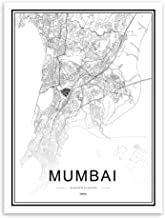 JYWDZSH Canvas Printblack White World City Maps Mumbai Posters Prints Scandinavian Living Room Wall Art Pictures Decor Canvas Painting,70X100Cm No Frame