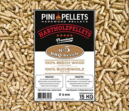 PINI Hartholz Pellets 100% Buche № 5 BBQ Beech 15 Kg Grillpellets zum Grillen Räuchern Smoken