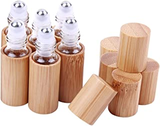 6 Pcs 5ml Bamboo Roll On Bottle For Essential Oils,Clear Glass Inner with Natural Bamboo Wooden Shell,Portable Massage Sta...