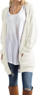Womens Sweaters Boho Long Sleeve Open Front Chunky Cable Knit Cardigan