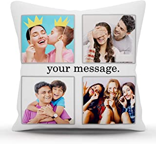 k1gifts 4 Photo Personalized Photo Pillow Valentine Day,Birthday,Anniversary, mothers's Day, Father's Day,Raakhi Cushion