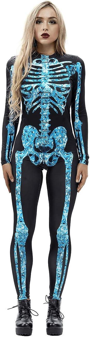kayamiya Women's Halloween Bombing free shipping Costumes Skeleton wholesale Long J Sleeve Print