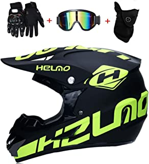 NBZH Casque Motocross Adulte Off Road Dot Dirt Bike Moto VTT VTT VTT Casque Int/égral Casque Complet MX Offroad//Masques//Masque//Gants XL, Style 4