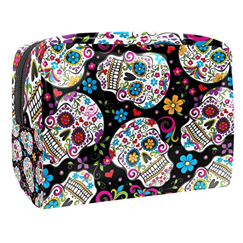 Bolsa de maquillaje de PVC para mujer y niña cosmética neceser organizador de bolsa de 7.3 x 3 x 5.1 pulgadas con diseño de calavera